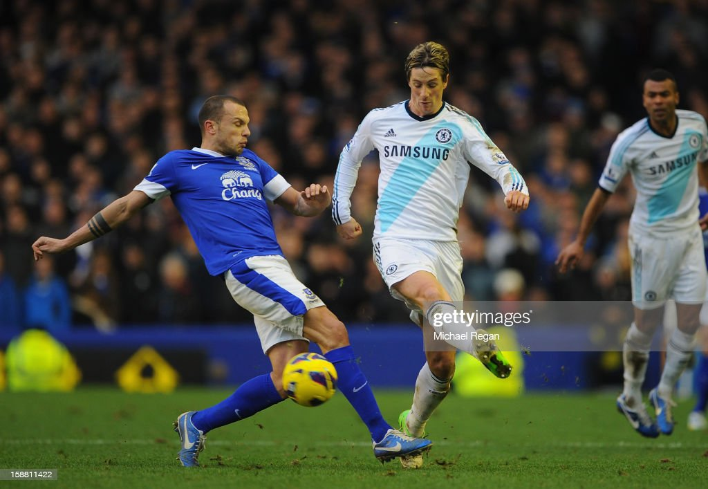 Fernando Torres of Chelsea is challenged by John Heitinga of Everton during the Barclays Premier League match between Everton and Chelsea at Goodison Park on December 30, 2012 in Liverpool, England.