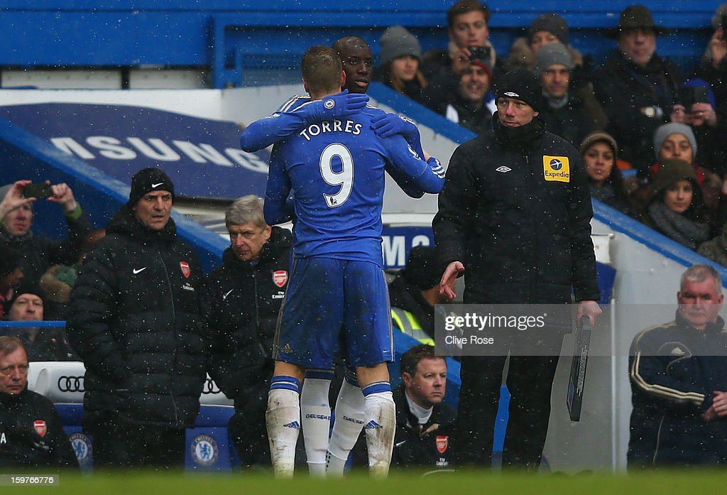 Fernando Torres of Chelsea is replaced by substitute Demba Ba during the Barclays Premier League match between Chelsea and Arsenal at Stamford Bridge on January 20, 2013 in London, England.