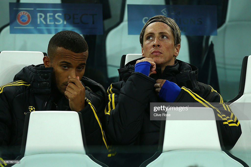Fernando Torres of Chelsea looks on from the substitutes bench prior to the UEFA Champions League Group E match between Juventus and Chelsea at the Juventus Arena on November 20, 2012 in Turin, Italy.