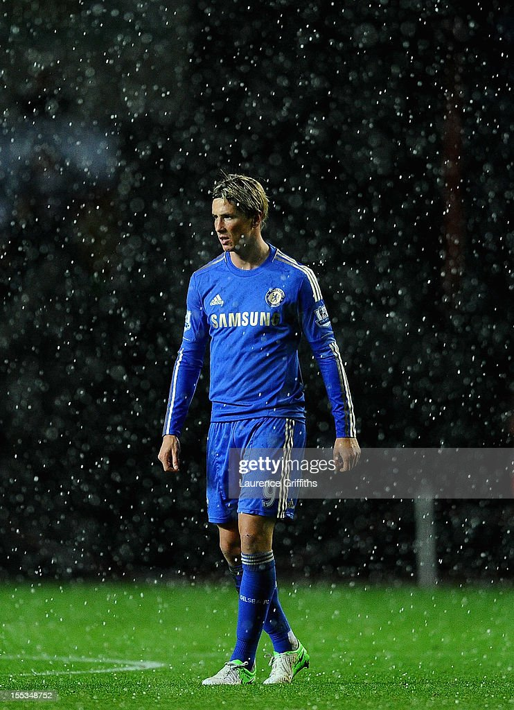 Fernando Torres of Chelsea looks on in a hail storm during the Barclays Premier League match between Swansea City and Chelsea at Liberty Stadium on November 3, 2012 in Swansea, Wales.