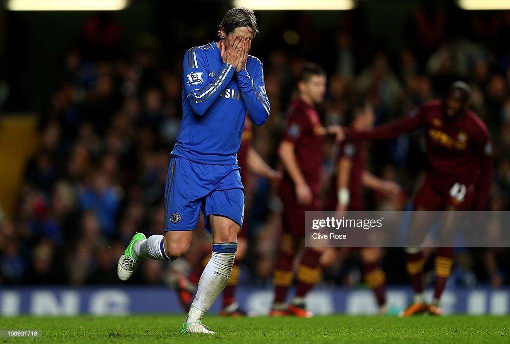 <a gi-track='captionPersonalityLinkClicked' href=/galleries/search?phrase=Fernando+Torres&family=editorial&specificpeople=194755 ng-click='$event.stopPropagation()'>Fernando Torres</a> of Chelsea reacts after a missed shot on goal during the Barclays Premier League match between Chelsea and Manchester City at Stamford Bridge on November 25, 2012 in London, England.