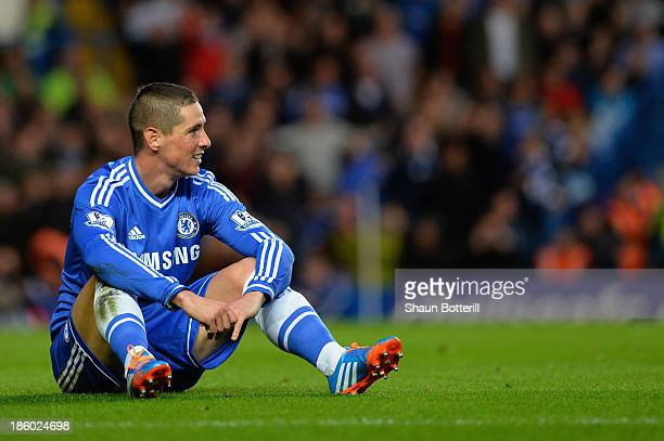 Fernando Torres of Chelsea reacts after missing a chance at goal during the Barclays Premier League match between Chelsea and Manchester City at...