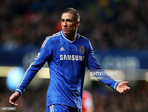 Fernando Torres of Chelsea reacts during the Barclays Premier League match between Chelsea and Southampton at Stamford Bridge on December 1 2013 in...