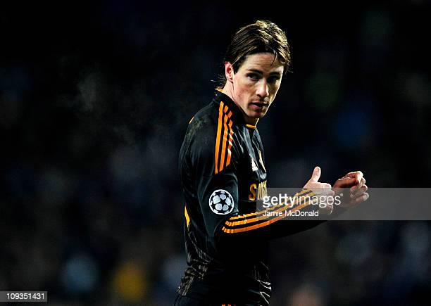 Fernando Torres of Chelsea reacts during the UEFA Champions League round of 16 first leg match between FC Copenhagen and Chelsea at Parken Stadium on...