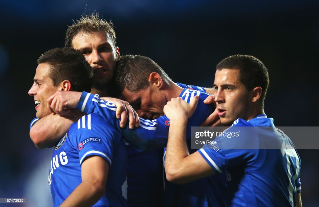 Fernando Torres of Chelsea reacts with team mates after scoring the opening goal during the UEFA Champions League semi-final second leg match between Chelsea and Club Atletico de Madrid at Stamford Bridge on April 30, 2014 in London, England.