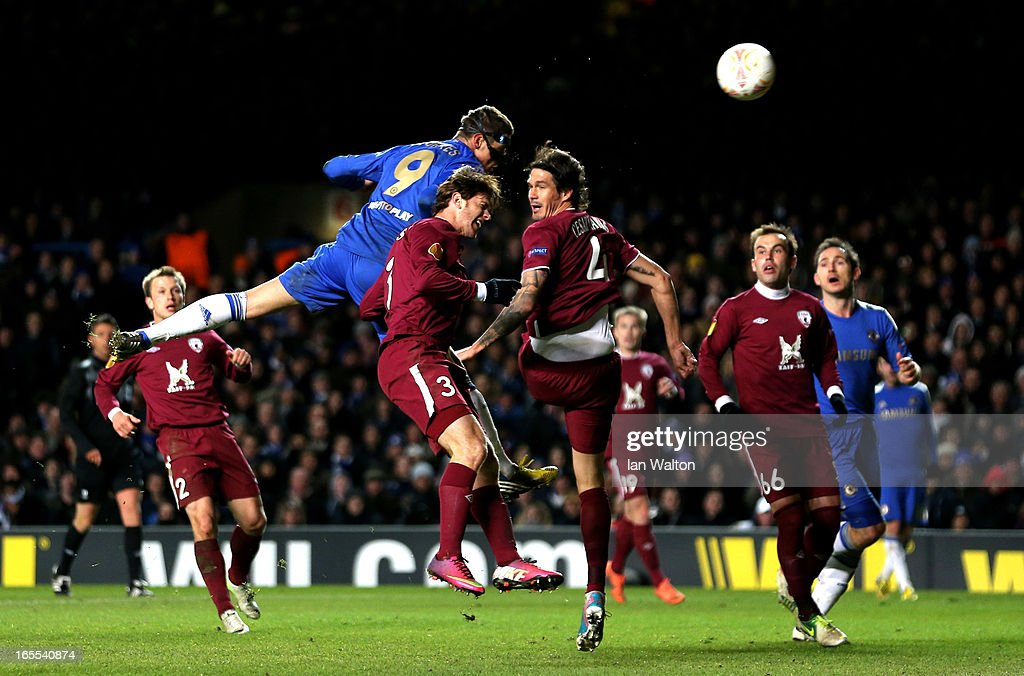 <a gi-track='captionPersonalityLinkClicked' href=/galleries/search?phrase=Fernando+Torres&family=editorial&specificpeople=194755 ng-click='$event.stopPropagation()'>Fernando Torres</a> of Chelsea rises above the Rubin Kazan defence to score his team's third goal with a header during the UEFA Europa League quarter final first leg match between Chelsea and FC Rubin Kazan at Stamford Bridge on April 4, 2013 in London, England.