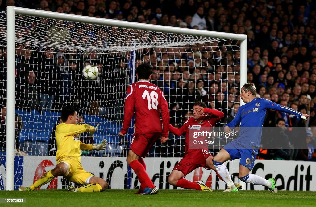<a gi-track='captionPersonalityLinkClicked' href=/galleries/search?phrase=Fernando+Torres&family=editorial&specificpeople=194755 ng-click='$event.stopPropagation()'>Fernando Torres</a> of Chelsea scores his team's fourth goal during the UEFA Champions League group E match between Chelsea and FC Nordsjaelland at Stamford Bridge on December 5, 2012 in London, England.