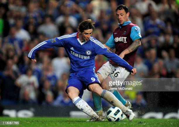 Fernando Torres of Chelsea scores his team's second goal and the first of his Chelsea career during the Barclays Premier League match between Chelsea...