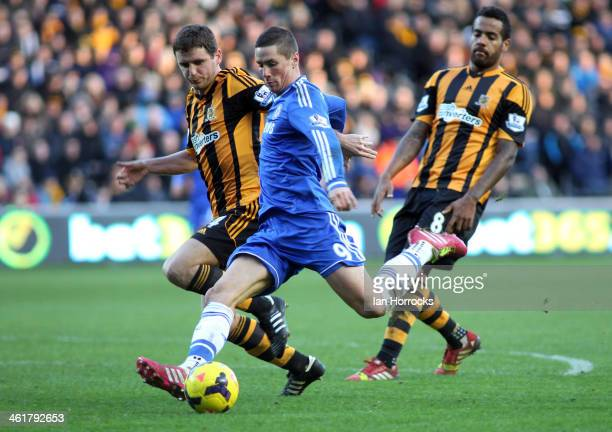 Fernando Torres of Chelsea scores the second Chelsea goal during the Barclays Premier League match between Hull City and Chelsea at the KC Stadium on...