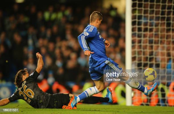 Fernando Torres of Chelsea scores their second goal during the Barclays Premier League match between Chelsea and Manchester City at Stamford Bridge...