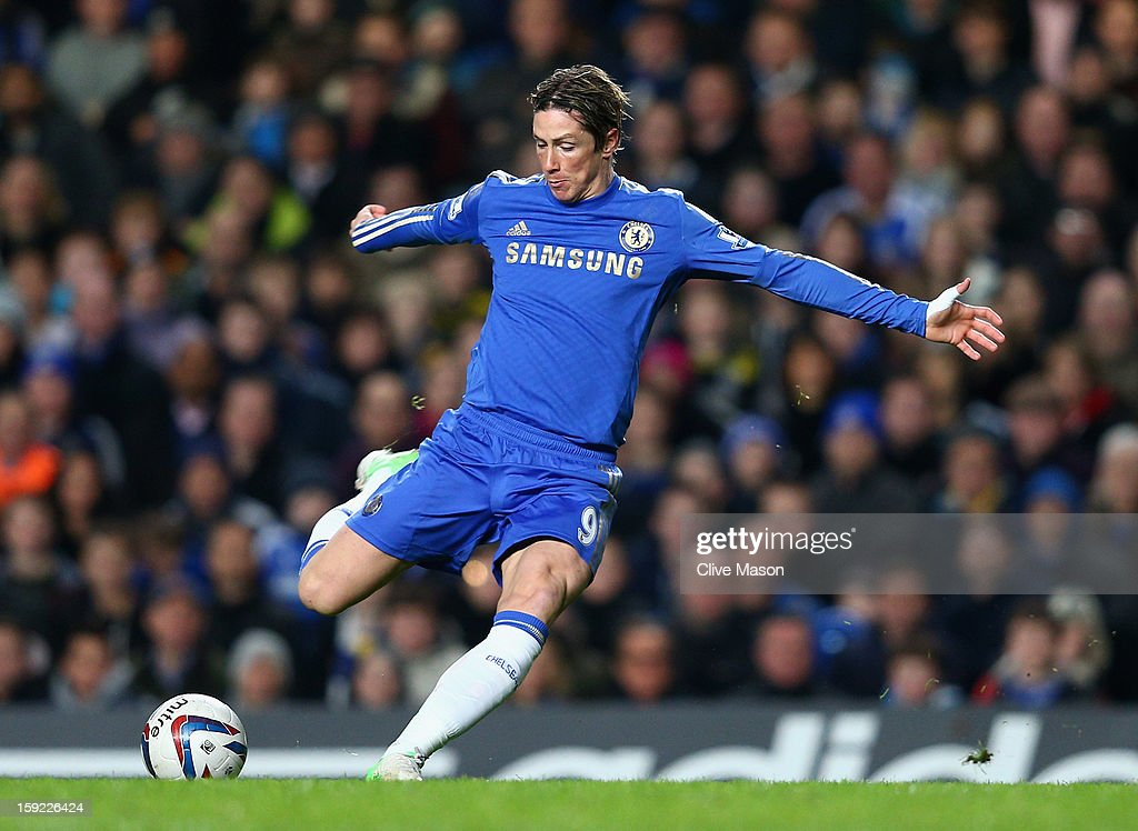 Fernando Torres of Chelsea shoots at goal during the Capital One Cup Semi-Final first leg match between Chelsea and Swansea City at Stamford Bridge on January 9, 2013 in London, England.
