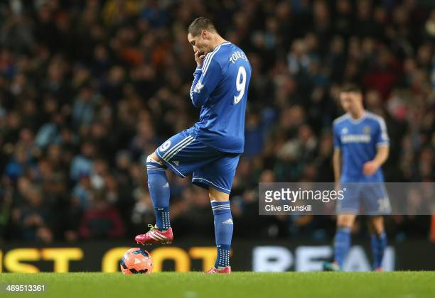 Fernando Torres of Chelsea shows his dejection after Samir Nasri of Manchester City has scored the second goal during the FA Cup Fifth Round match...