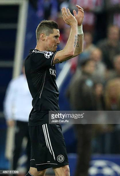 Fernando Torres of Chelsea thanks the public at the end of the UEFA Champions League semi final match between Club Atletico de Madrid and Chelsea FC...