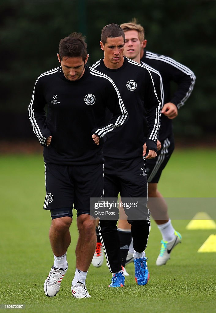 Fernando Torres of Chelsea warms up during a training session on September 17 2013 in Cobham England