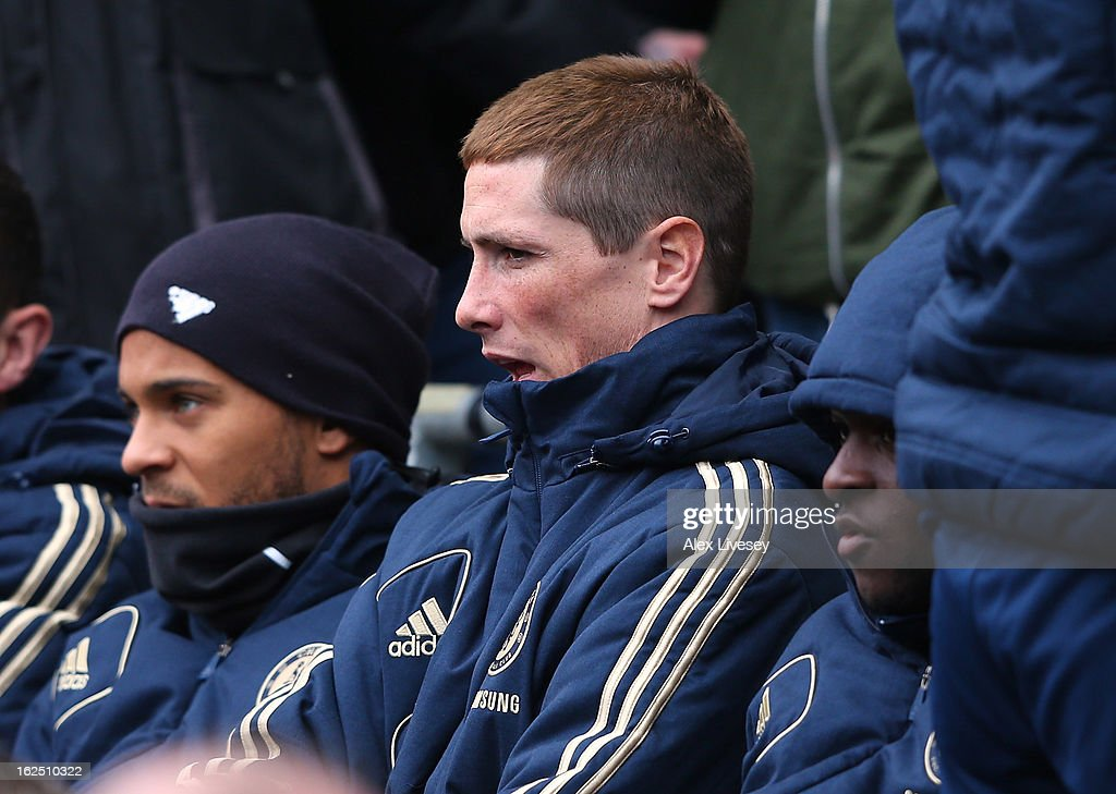 Fernando Torres of Chelsea watches from the bench during the Barclays Premier League match between Manchester City and Chelsea at Etihad Stadium on February 24, 2013 in Manchester, England.
