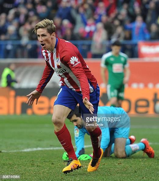 Fernando Torres of Club Atletico de Madrid celebrates after scores his team's 3rd goal against Asier Riesgo of SD Eibar during the La Liga match...
