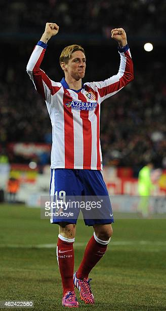 Fernando Torres of Club Atletico de Madrid celebrates after scoring his team's opening goal during the Copa del Rey Quarter Final Second Leg match...
