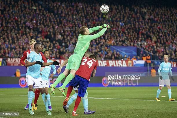 Fernando Torres of Club Atletico de Madrid Nicolas IsimatMirin of PSV Joshua Brenet of PSV goalkeeper Jeroen Zoet of PSV Jose Maria Gimenez of Club...