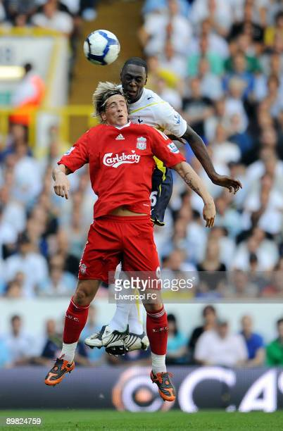 Fernando Torres of Liverpool and Ledley King of Tottenham compete for a header during the Barclays Premier league match between Tottenham Hotspur and...