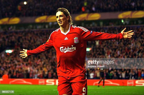 Fernando Torres of Liverpool celebrates after scoring the fourth goal during the quarter final second leg UEFA Europa League match between Liverpool...