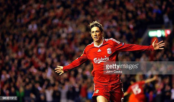 Fernando Torres of Liverpool celebrates after scoring the third during the quarter final second leg UEFA Europa League match between Liverpool and...