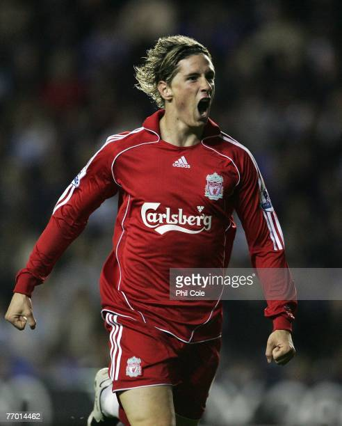 Fernando Torres of Liverpool celebrates his first and Liverpool's second goal during the Carling Cup third round match between Reading and Liverpool...