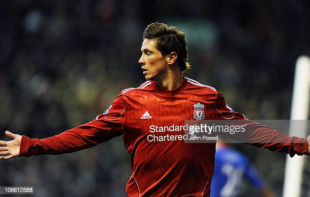 Fernando Torres of Liverpool celebrates his goal to make it 10 during the Barclays Premier League match between Liverpool and Chelsea at Anfield on...