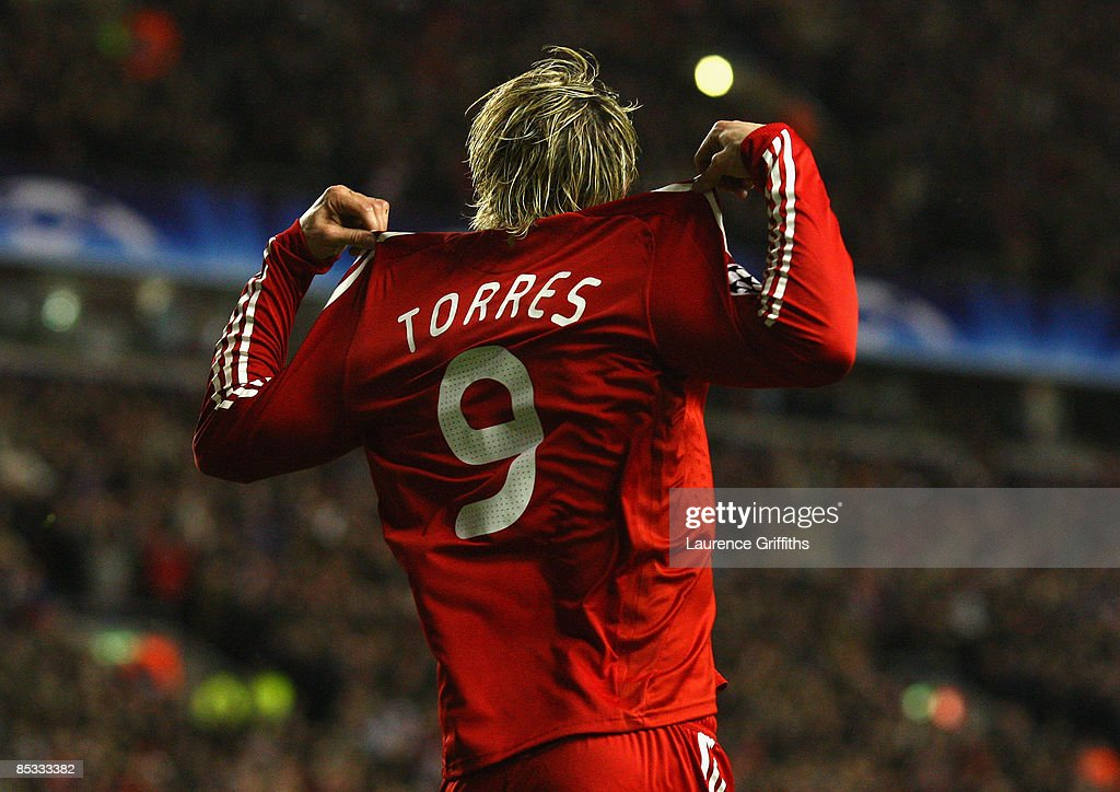 <a gi-track='captionPersonalityLinkClicked' href=/galleries/search?phrase=Fernando+Torres&family=editorial&specificpeople=194755 ng-click='$event.stopPropagation()'>Fernando Torres</a> of Liverpool celebrates scoring the opening goal during the UEFA Champions League Round of Sixteen, Second Leg match between Liverpool and Real Madrid at Anfield on March 10, 2009 in Liverpool, England.