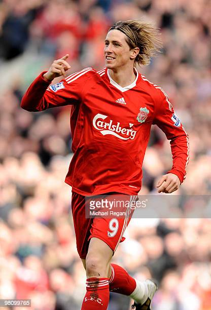 Fernando Torres of Liverpool celebrates scoring the opening goal during the Barclays Premier League match between Liverpool and Sunderland at Anfield...