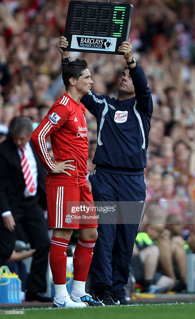 Fernando Torres of Liverpool comes on as a substitute during the Barclays Premier League match between Liverpool and Arsenal at Anfield on August 15, 2010 in Liverpool, England.