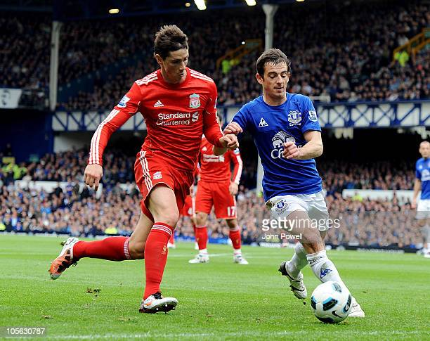 Fernando Torres of Liverpool competes with Leighton Baines of Everton during the Barclays Premier League match between Everton and Liverpool at...