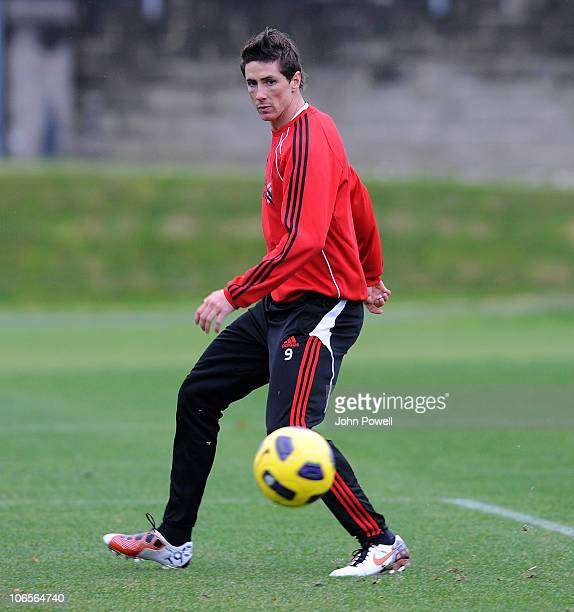 Fernando Torres of Liverpool during a Liverpool FC training session at Melwood Training Ground on November 5 2010 in Liverpool England