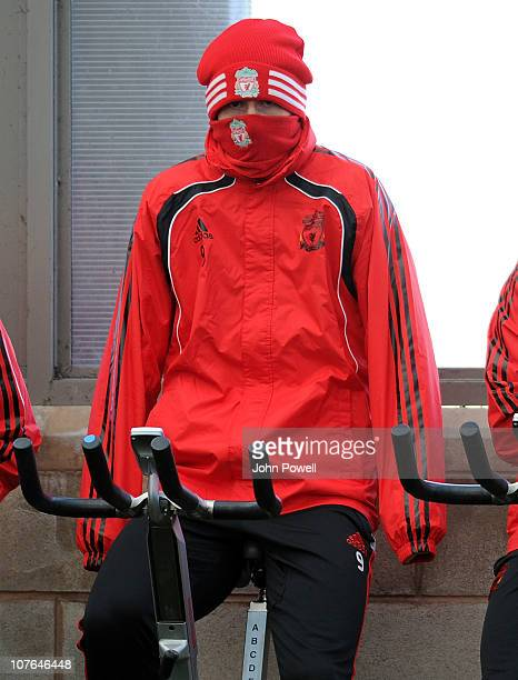 Fernando Torres of Liverpool during a training session at Melwood Training Ground on December 17 2010 in Liverpool England