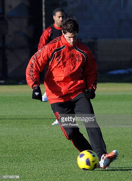 Fernando Torres of Liverpool in action during a training session at Melwood Training Ground on November 26 2010 in Liverpool England