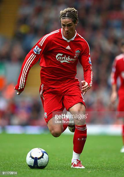Fernando Torres of Liverpool in action during the Barclays Premier League match between Liverpool and Hull City at Anfield on September 26 2009 in...