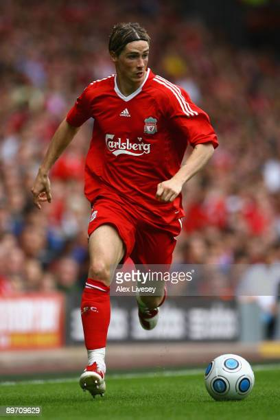 Fernando Torres of Liverpool in action during the friendly match between Liverpool and Atletico Madrid at Anfield on August 8 2009 in Liverpool...