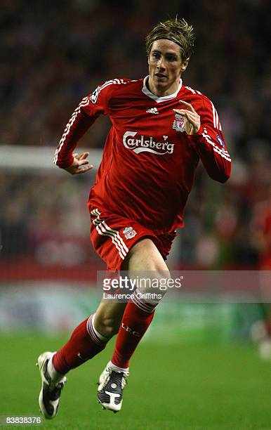 Fernando Torres of Liverpool in action during the UEFA Champions League Group D match between Liverpool and Marseille at Anfield on November 26 2008...