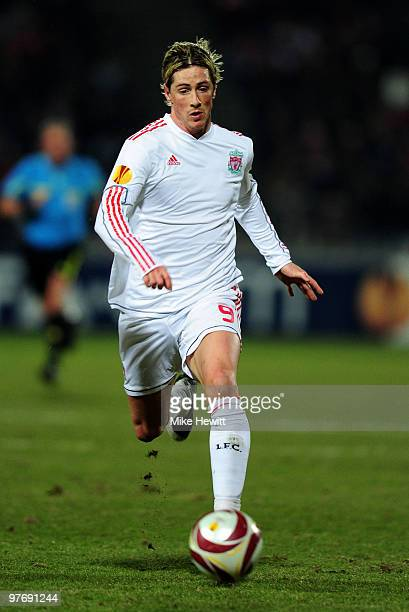 Fernando Torres of Liverpool in action during the UEFA Europa League last 16 1st leg match between Lille and Liverpool on March 11 2010 in Lille...