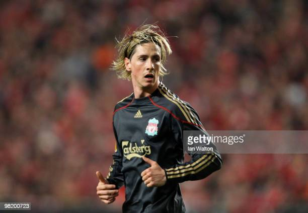 Fernando Torres of Liverpool in action during the UEFA Europa League quarter final first leg match between Benfica and Liverpool at Estadio da Luz...
