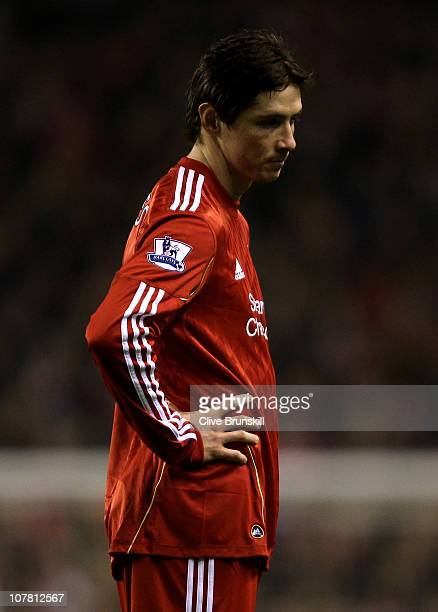 Fernando Torres of Liverpool looks dejected during the Barclays Premier League match between Liverpool and Wolverhampton Wanderers at Anfield on...