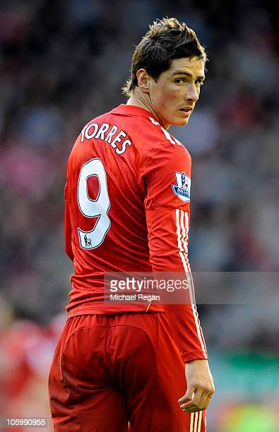 Fernando Torres of Liverpool looks on during the Barclays Premier League match between Liverpool and Blackburn Rovers at Anfield on October 24 2010...