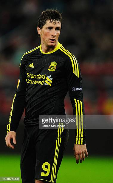 Fernando Torres of Liverpool looks on during the UEFA Europa League match between FC Utrecht and Liverpool at the Stadion Galgenwaard on September 30...