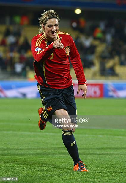 Fernando Torres of Spain celebrates his second goal during the FIFA Confederations Cup match between New Zealand and Spain at Royal Bafokeng Stadium...