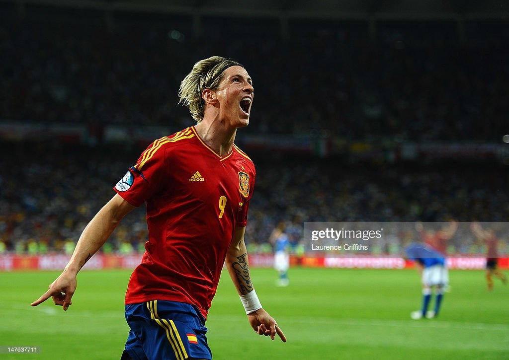 Fernando Torres of Spain celebrates scoring his side's third goal during the UEFA EURO 2012 final match between Spain and Italy at the Olympic Stadium on July 1, 2012 in Kiev, Ukraine.