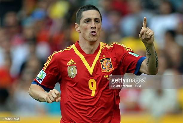 Fernando Torres of Spain celebrates scoring the opening goal during the FIFA Confederations Cup Brazil 2013 Group B match between Spain and Tahiti at...