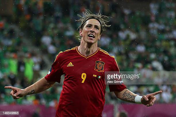 Fernando Torres of Spain celebrates scoring their third goal during the UEFA EURO 2012 group C match between Spain and Ireland at The Municipal...