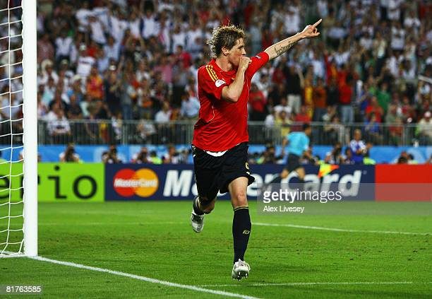 Fernando Torres of Spain celebrates the opening goal during the UEFA EURO 2008 Final match between Germany and Spain at Ernst Happel Stadion on June...