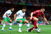 Fernando Torres of Spain competes for the ball with Ronald Raldes of Bolivia an international friendly match between Spain and Bolivia at Estadio...