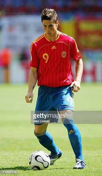 Fernando Torres of Spain controls the ball during the FIFA World Cup Germany 2006 Group H match between Spain and Ukraine played at the...
