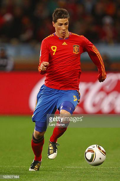 Fernando Torres of Spain in action during the 2010 FIFA World Cup South Africa Round of Sixteen match between Spain and Portugal at Green Point...